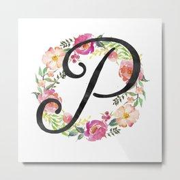 Floral P Monogram Metal Print