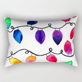 Colorful Christmas Holiday Light Bulbs Rectangular Pillow