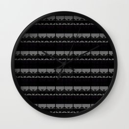 Body Suits - Black-n-White Zig-Zag stripes Wall Clock