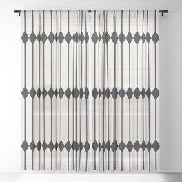 Minimal Geometric Pattern - Black Sheer Curtain