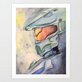 Halo gaming watercolor design Art Print