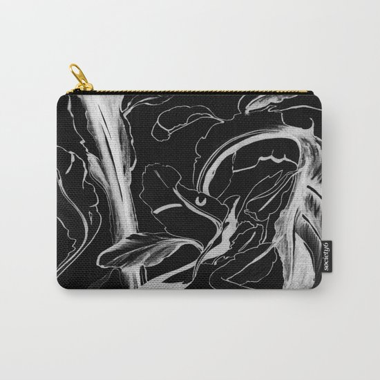 Plant in Blue Marker - Leaf of Life Miracle Leaf - White on Black Carry-All Pouch