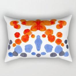 Rorschach Inkblot Diagram Psychology Abstract Symmetry Colorful Watercolor Art Blue Orange Complemen Rectangular Pillow