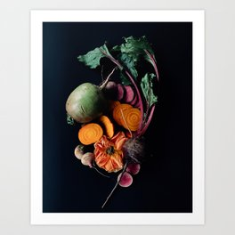 Moody Root Vegetables and Rose Art Print