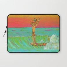 Hang 10 Retro Surf Dude Longboard Surf Laptop Sleeve