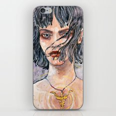 Watercolor illustration with gold ink iPhone Skin