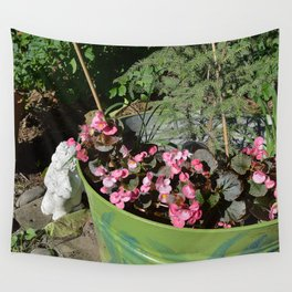Sun kissed Garden Angel and Begonias Wall Tapestry