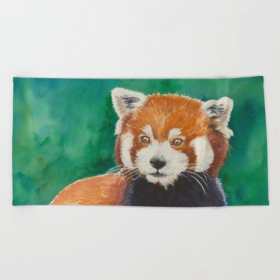 Red panda watercolor portrait Beach Towel
