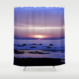 Blue and Purple Sunset on the Sea Shower Curtain
