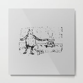 Jessie Frying up a Pan Full of Sausages on the Range - Monochrome Metal Print