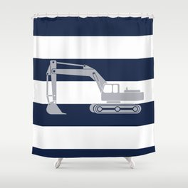 Gray excavator with navy stripes Shower Curtain