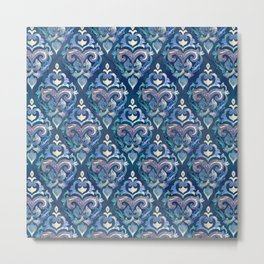 Persian Floral pattern blue and silver Metal Print