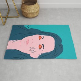 Coffee Lover Girl With Blue Hair And Caffeine Molecule Tattoo Rug