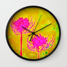 Spider Lily Flowers Wall Clock