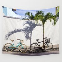 bicycles Wall Tapestries featuring Bicycles in Puerto Morelos by World Photos by Paola