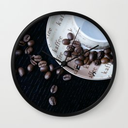 Coffee Cup with coffee Beans Wall Clock