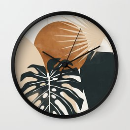Abstract Art Tropical Leaves 7 Wall Clock