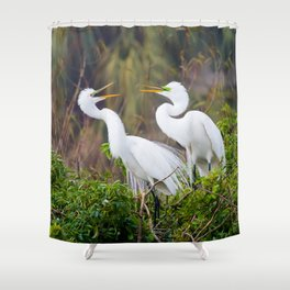 Egret Pair Shower Curtain