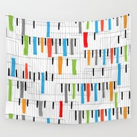 piano Wall Tapestries featuring piano by mondebettina