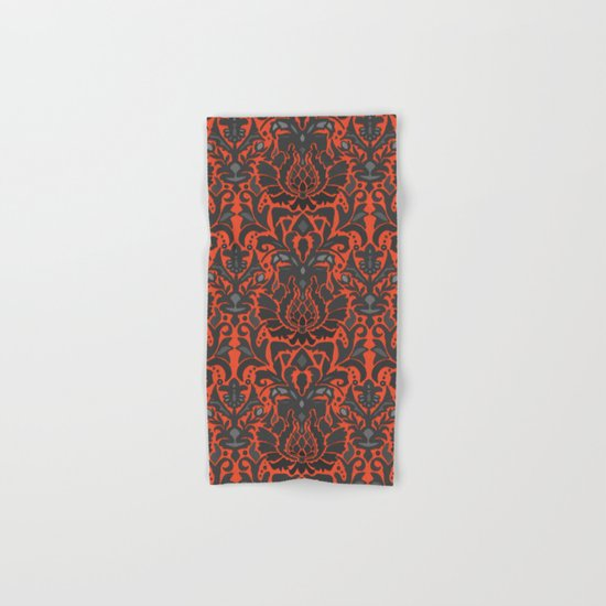 Aya damask orange Hand & Bath Towel
