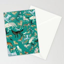 Wolves pattern in blue Stationery Cards
