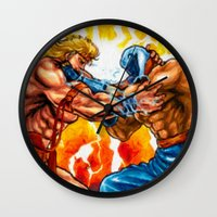 muscle Wall Clocks featuring Muscle Bomber by VGPrints