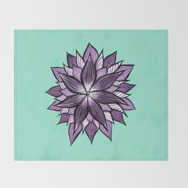 Purple Mandala Like Abstract Flower Throw Blanket