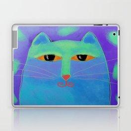 Blue Cat Abstract Digital Cat Painting Laptop & iPad Skin