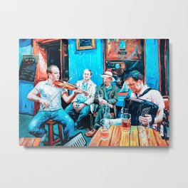 Accordion Accordionist Playing In A Bar Poster Metal Print