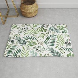 Botanical leaves -Watercolor   Rug