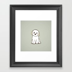 Shih Tzu and Maltese Mix Puppy Illustration Framed Art Print