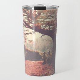 Sunlight shines through silhouetted tree. Travel Mug