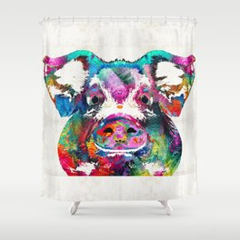 Colorful Pig Art - Squeal Appeal - By Sharon Cummings Shower Curtain