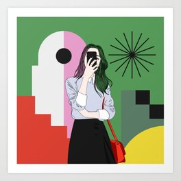The magic of colours. Aesthetic wall art of young girl taking a selfie with her mobile phone Art Print