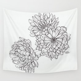 Ink Illustration of Summer Blooms Wall Tapestry