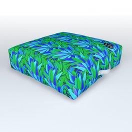 Cannabis Print Green and Blue Outdoor Floor Cushion