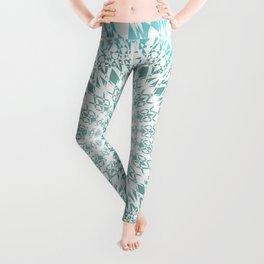 Turquoise White Mandala Leggings