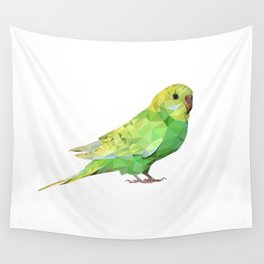 Geometric green parakeet Wall Tapestry