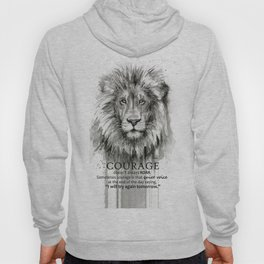 Lion Courage Motivational Quote Watercolor Painting Hoody