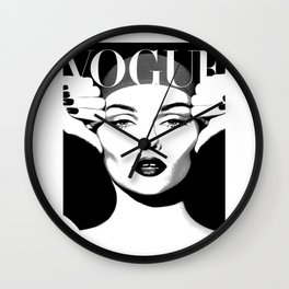VOGUE FASHION COVER,Vogue Posters,Vogue Prints,Vogue Patterns,Black And White,Fashion Decor,Modern H Wall Clock