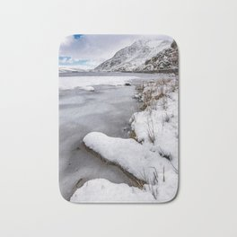 Snowfall at Ogwen Lake Snowdonia Bath Mat