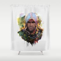 assassins creed Shower Curtains featuring witchers creed by ururuty