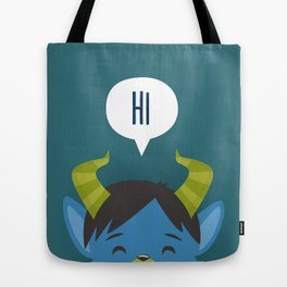 Happy Blue Monster Tote Bag