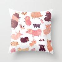 pig Throw Pillows featuring Pig Pig Pig  by Chuck Groenink