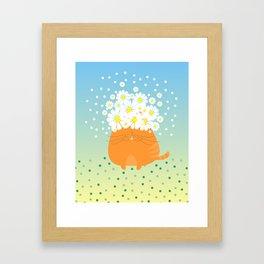 cat&flowers Framed Art Print