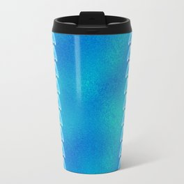Blue Teal Glass Greek  Pattern Travel Mug