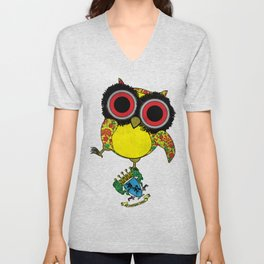 Printed Owl Unisex V-Neck