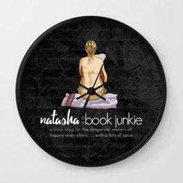 Natasha is a Book Junkie (logo) on script Wall Clock