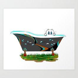 A Claw-foot Bathtub with a Kitty Art Print