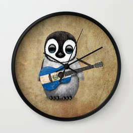 Baby Penguin Playing Salvadorian Flag Acoustic Guitar Wall Clock